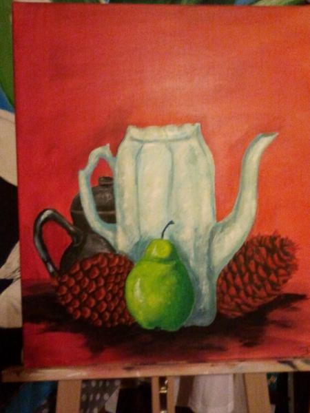 tableau peinture pomme de pin carafe pomme fruit pomme de pin. Black Bedroom Furniture Sets. Home Design Ideas