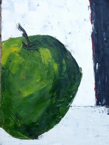 Tableau peinture pomme vert fruit pomme verte for Peinture vert pomme