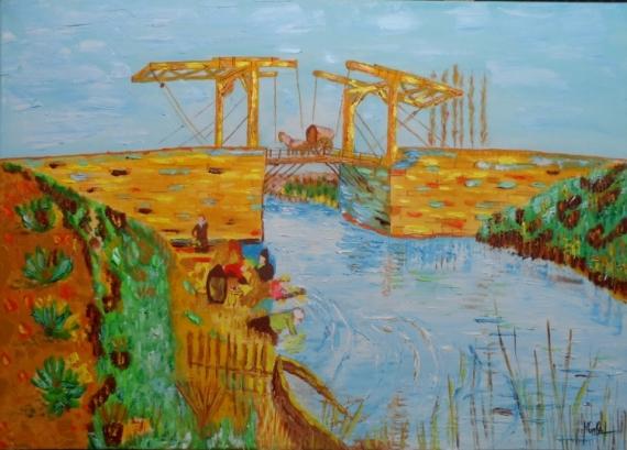 Tableau peinture pont arles van gogh huile pont d 39 arles - Peinture a l huile van gogh ...