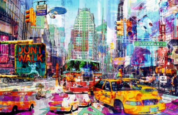 TABLEAU PEINTURE pop art new york urban Villes  Spider tracking Vador