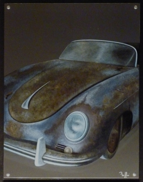 tableau peinture porsche voiture vintage rouille 356 s. Black Bedroom Furniture Sets. Home Design Ideas