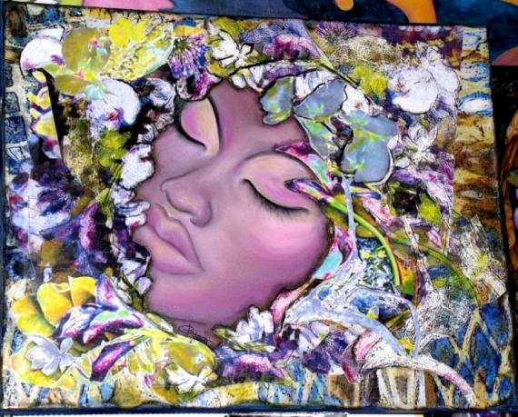 tableau peinture portrait de femme huile sur toile collages cl a. Black Bedroom Furniture Sets. Home Design Ideas