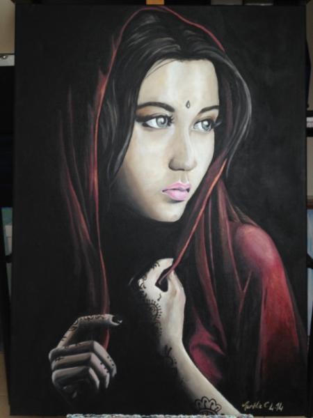 Bevorzugt TABLEAU PEINTURE portrait femme orient - Femme afghane LM15