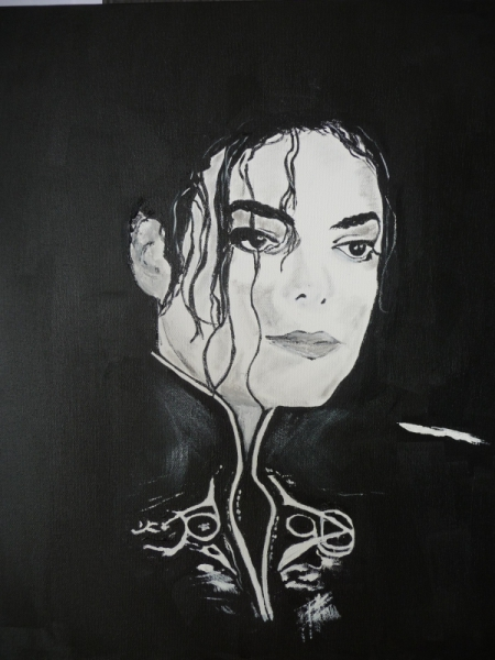 tableau peinture portrait noir et blanc jackson michael michael jackson. Black Bedroom Furniture Sets. Home Design Ideas