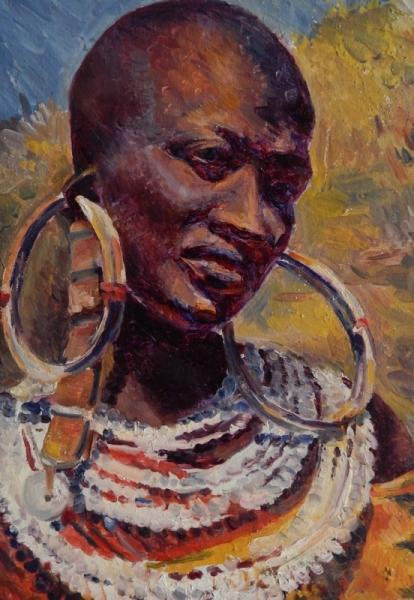 Célèbre TABLEAU PEINTURE portraiture femme noire Afrique spiritualité  RN46