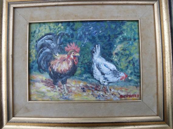 Tableau Peinture Poule Coq Basse Cour Poulailler Hte