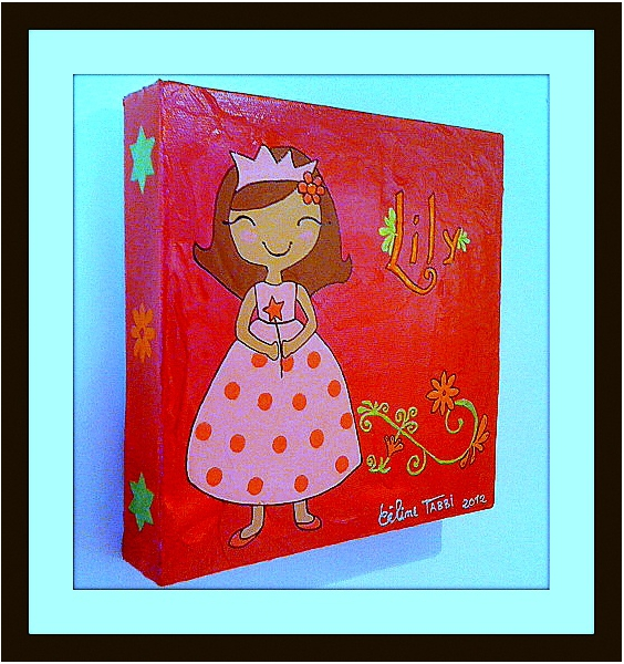 tableau peinture princesse framboise chambre petite fille princesse lily. Black Bedroom Furniture Sets. Home Design Ideas