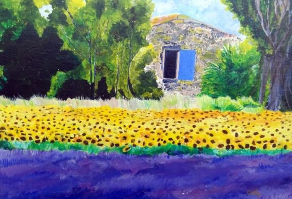 Tableau peinture provence paysage lavande tournesols for Peinture couleur lavande