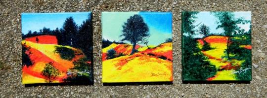 Tableau peinture provence rustrel colorado ocre tryptique colorado de rustrel - Peinture ocre provencal ...