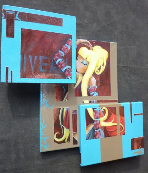 Tableau peinture reliefs superpositions 3d tableaux - Peinture effet relief ...