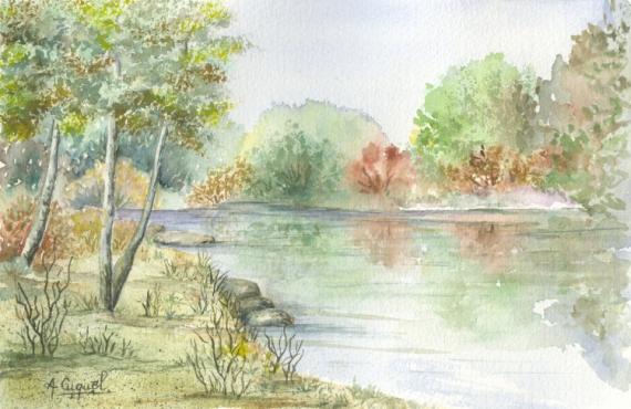 Peinture Aquarelle Paysage Bord De Seine Pictures To Pin On Pinterest
