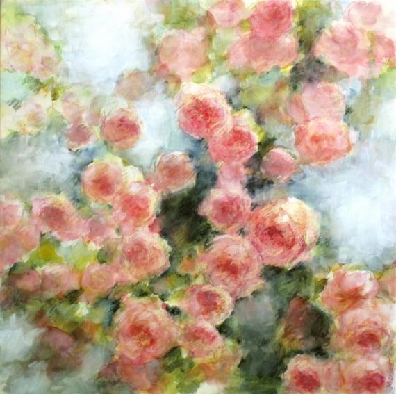 Tableau peinture rococo romantic jardin shabby chic for Peinture shabby chic