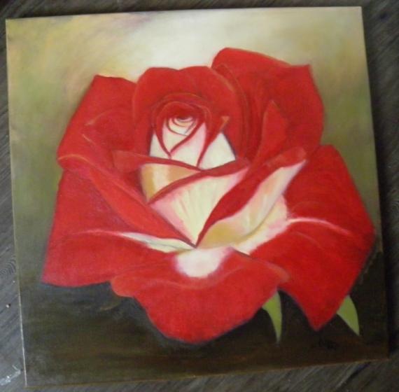 Bien connu TABLEAU PEINTURE rose fleur rouge couleurs chaudes - rose feu LG87