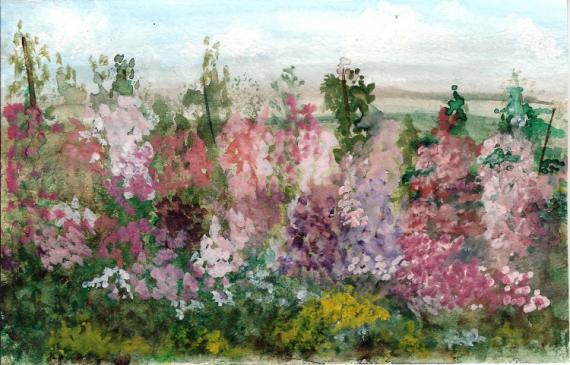Tableau peinture rose trmire roses trmires - Planter des roses tremieres ...