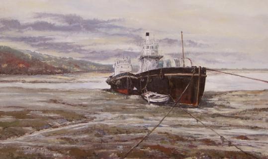 Tableau peinture rostellec finist re cimeti re de bateaux vieilles coques mar e basse - Peinture coque bateau ...