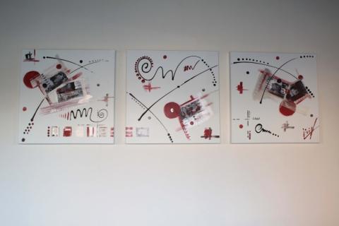 tableau peinture rouge blanc triptyque noir nova. Black Bedroom Furniture Sets. Home Design Ideas