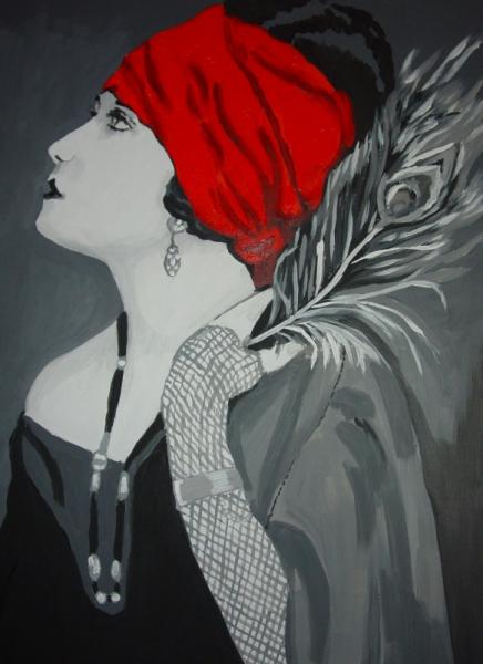 tableau peinture rouge noir blanc femme au turban. Black Bedroom Furniture Sets. Home Design Ideas