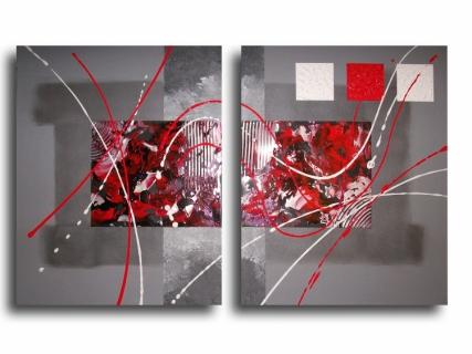 tableau peinture rouge noir design abstrait abstrait acrylique tableau toile diptyque rouge. Black Bedroom Furniture Sets. Home Design Ideas