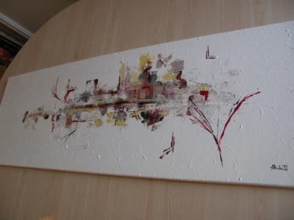 Tableau peinture rouge noir or argent tableau abstrait l 39 abstrait - Peinture avec relief ...