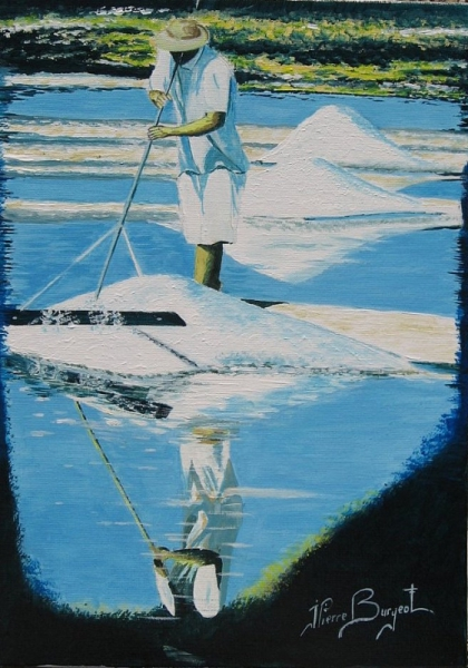 Tableau peinture saulnier sel marais salant gurande - Creation tableau photo ...