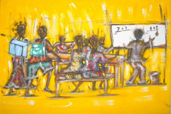 Tableau peinture senegal ecole a l 39 cole - Tableau d ecole mural ...