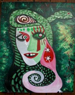 tableau peinture serpent vert visage regard les confins d 39 un conflit sans fin notre faim. Black Bedroom Furniture Sets. Home Design Ideas