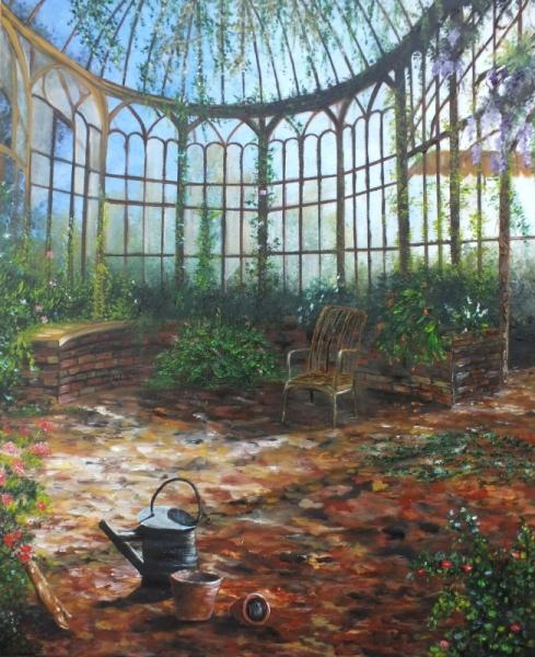 tableau peinture serre plantes lumire jardin d 39 hiver la serre abandonne. Black Bedroom Furniture Sets. Home Design Ideas