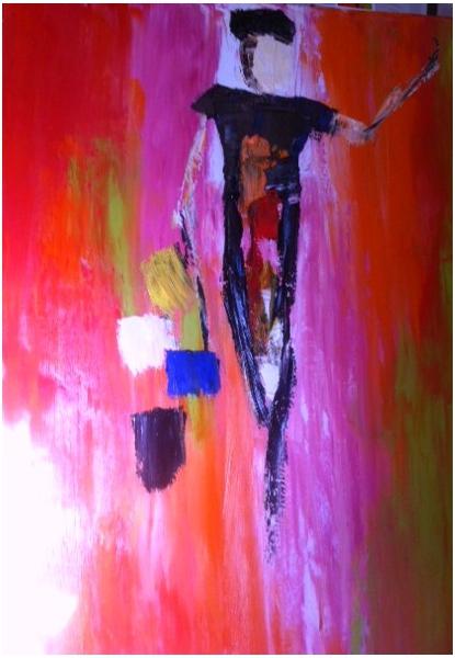 Tableau peinture silhouette couleurs vives silhouette de for Peinture a lhuile couleur argent