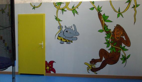 Tableau peinture singe peinture murale enfant anatole park for Peinture murale enfant