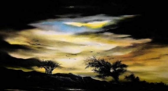 tableau peinture soleil coucher de soleil ciel
