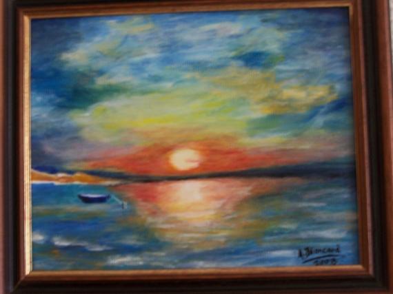 tableau peinture soleil reflet lac barque