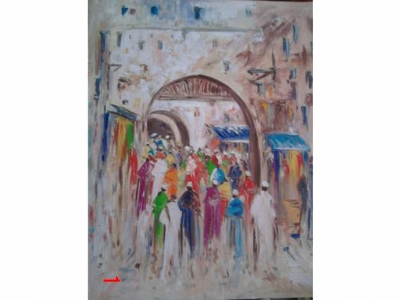 Tableau peinture souk au maroc ambiance du couleur la vie for Peinture a lhuile couleur argent