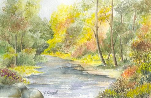Sous bois eau torrent rivière paysages aquarelle - la rivière 6
