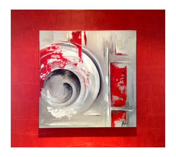 Tableau peinture spirales gris rouge spirales - Peinture gris rouge ...