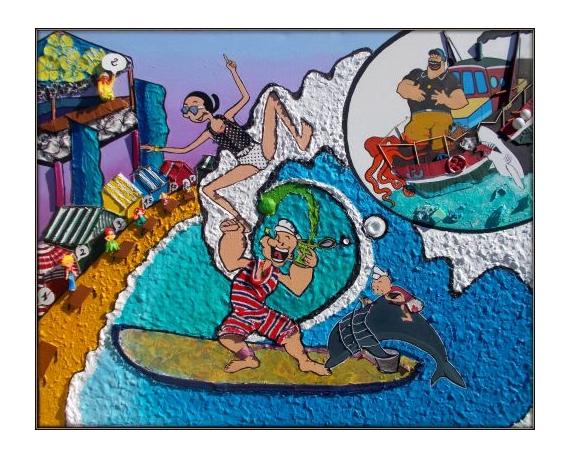 Tableau peinture surf humour dessins anims ocan surf tandem - Peinture bois sur fer ...