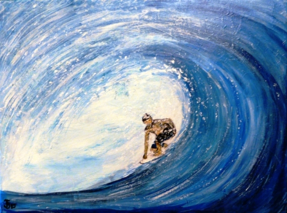 Tableau peinture surf c 39 est la mer qui prend l 39 homme - Peinture bois sur fer ...