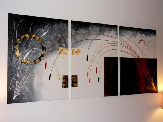 TABLEAU PEINTURE tableau abstrait moderne contemporain - Tryptique ...