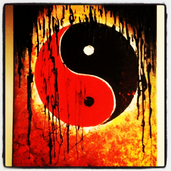 tableau peinture tableau abstrait ying yang moderne tableau acrylique sur toile ying yang 2. Black Bedroom Furniture Sets. Home Design Ideas
