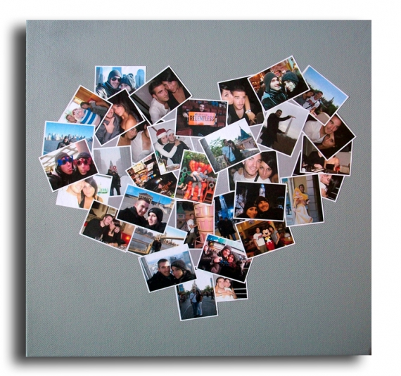 Tableau peinture tableau album photo coeur tableau album for Photo idee cadeau