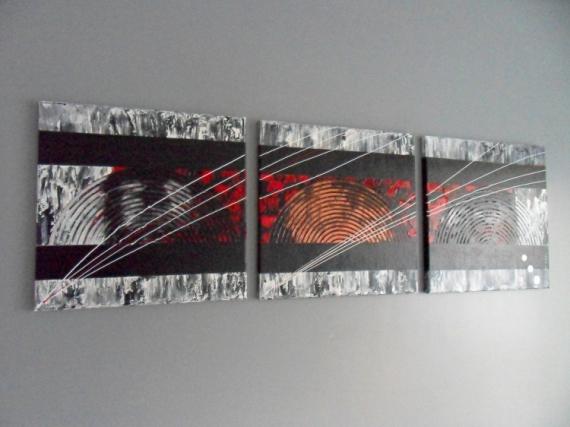 tableau peinture tableau art abstrait contemporain abstrait acrylique tryptique wind color - Tableaux Abstraits Colors