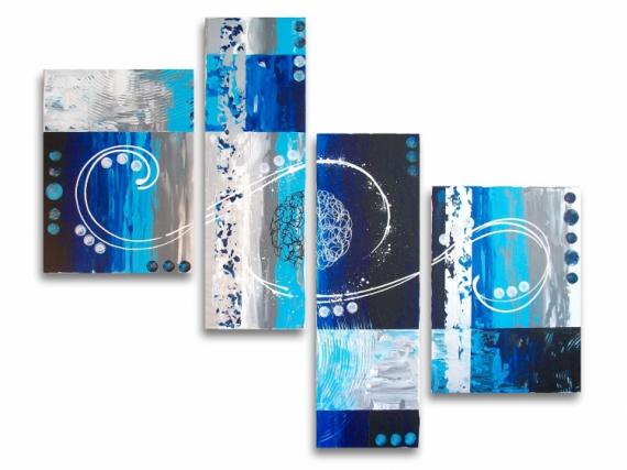 Tableau peinture tableau bleu galaxie design tableau toile bleu blanc gris noir design for Peinture couleur argent