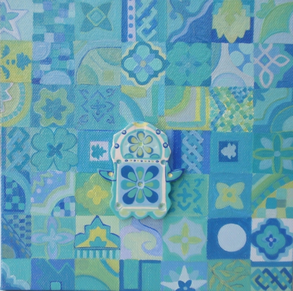 Tableau peinture tableau camaieu de v main de fatma maroca - Camaieu de bleu peinture ...