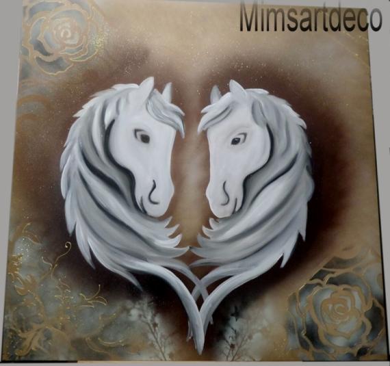 Tableau peinture tableau cheval blanc peinture cheval blan tableau moderne chev art moderne - Tableau de cheval ...