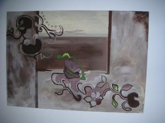 tableau peinture tableau contemporain abstrait marron guirlande de fleurs tableau. Black Bedroom Furniture Sets. Home Design Ideas