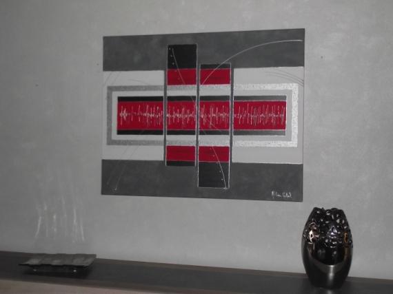 tableau peinture tableau contemporain gris rouge tableau contemporain resonnance. Black Bedroom Furniture Sets. Home Design Ideas
