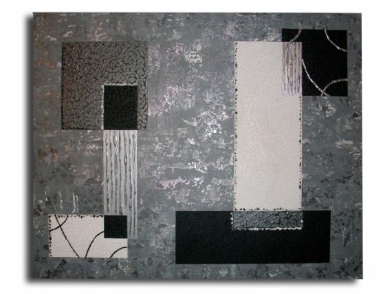 Tableau peinture tableau contemporain moderne design tableau toile noir gri - Tableau gris et blanc ...