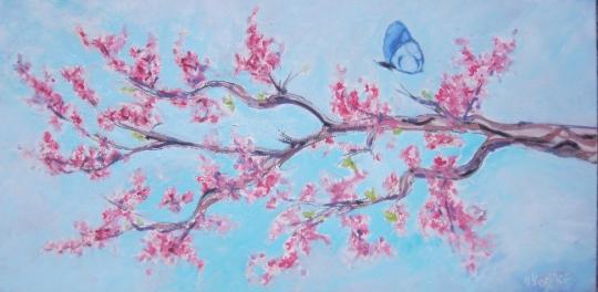 tableau peinture tableau deco fleur fleur cerisier branc arbre tableau huile papillon branche. Black Bedroom Furniture Sets. Home Design Ideas