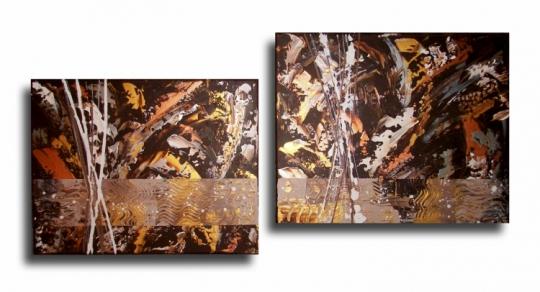 tableau peinture tableau diptyque marron weng tableau diptyque contemporain dor marron. Black Bedroom Furniture Sets. Home Design Ideas
