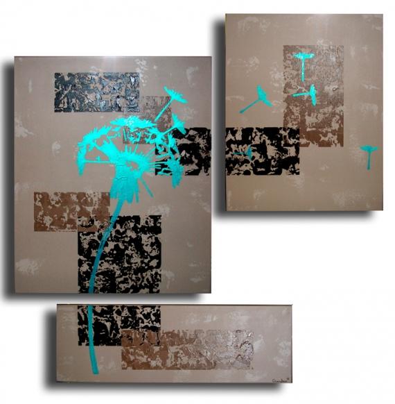 Tableau peinture tableau fleur marron bleu tableau toile for Deco avec des marrons
