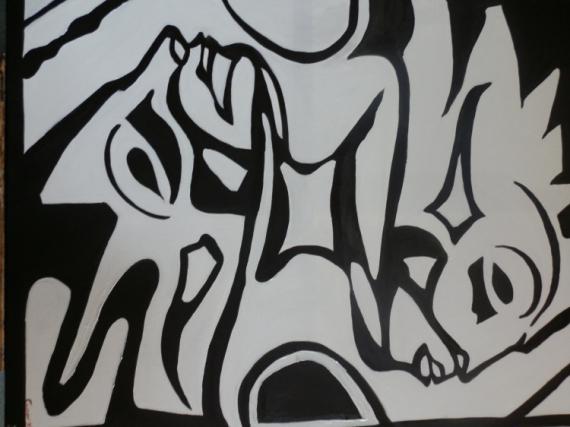 tableau peinture tableau grande noir et blanc contempraine homme et femme jumeaux. Black Bedroom Furniture Sets. Home Design Ideas